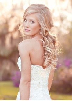 #CupcakeDreamWedding HAIR & MAKEUP Option 1-half up/half down and with hair extensions for major volume, makeup: natural (but still  airbrushed)