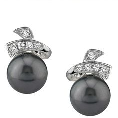 Tahitian South Pearl & Diamond Chloe Earrings (41.415 RUB) ❤ liked on Polyvore featuring jewelry, earrings, black, diamond jewelry, diamond earrings, 14k earrings, 14k pearl earrings and pearl earrings