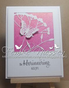 made by Femke Niessen: mini series Sympathy cards # 2. This card is inspired on a card made by Lisa that you can find in my card ideas folder. I used a different color and silhouette and couldn't resist adding a butterfly. you can find the translations from the sentiments on my blog.