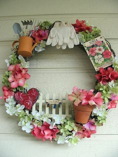 Gardening Wreath --- How cute