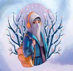 niqab girl on Behance Cartoon Girl Images, Girl Cartoon, Cartoon Art, Hijab Drawing, Islamic Cartoon, Hijab Cartoon, Girly Drawings, Islamic Girl, Cute Girl Wallpaper