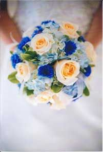 Colonial Bridal Bouquet with roses, hydrangea, cornflower and greenery  blue and cream