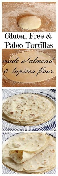 Have to try without almond flour - Gluten free Paleo Friendly Tortillas. Made with almond and tapioca flour. NO EGGS. This is vegan! Tastes like Indian Roti. Great for burritos, wraps and scooping up stews. Gluten Free Cooking, Dairy Free Recipes, Vegan Gluten Free, Low Carb Recipes, Cooking Recipes, Diet Recipes, Chicken Recipes, Healthy Recipes, Lunch Recipes