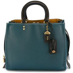 Coach Large Rogue Tote Bag ($1,087) ❤ liked on Polyvore featuring bags, handbags, tote bags, blue, handbags totes, genuine leather tote, blue leather handbag, coach purses and coach handbags