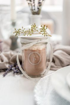 This Mini Mason Jar Favor with hot chocolate mix is a great winter wedding takeaway your guests will love! Personalize with a monogram or logo and add ribbon and a thank you card as finishing touches
