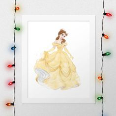 BELLE PRINT, Princess Belle, Belle, Beauty And The Beast, Watercolor, Nursery, Disney poster, Movie Poster, Print, Wall Art, Digital Print by xNoxyArt
