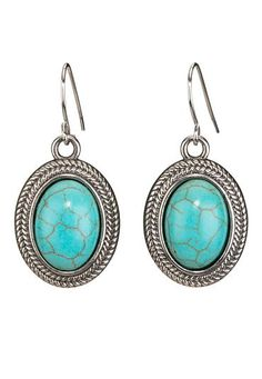 oval turquoise stone drop earrings (original price, $10) available at #Maurices