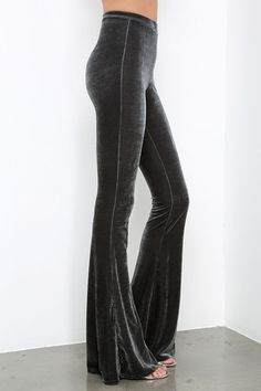 Shagadelic Grey Velvet Flare Pants at Lulus.com!