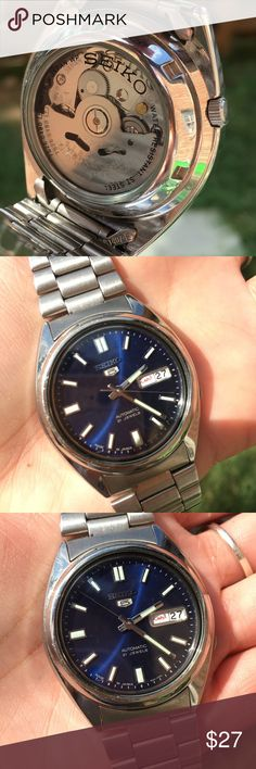 Seiko automatic 21 jewels men's watch Stainless steel water resistant Seiko watch with awesome colors and open or glass covered backside so that you can see the cogs and pieces inside at work. Works fine- does need some new batteries though 😉👍🏼 Seiko Accessories Watches