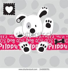 cute white dog vector illustration - stock vector