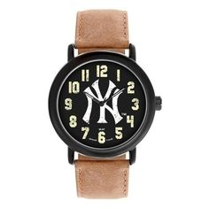 New York Yankees Pinstripe Mens Quartz Analog Black Round Case Brown Dark  Strap 47Mm Throwback Seattle 74e5c6553