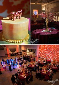 Elephant wedding cake topper. Phoenix Art Museum wedding reception. Pink and gold.