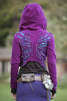 Elven Forest Peacock Winged Hoodie Wrap