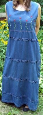 """Super Pretty Beaded Front Cotton Denim Dress Fits to 44"""" Bust Size XL Ships Free $19.00"""