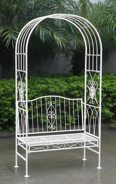 Brand New (still in packaging) -- Wrought Iron Garden Bench with arch -- Shabby Chic style Metal Garden Benches, Metal Pergola, Deck With Pergola, Cheap Pergola, Backyard Pergola, Pergola Shade, Pergola Plans, Gazebo, Pergola Ideas