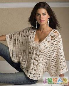 Patrones Crochet, Manualidades y Reciclado: BLUSAS EN KIMONO O MURCIÉLAGO PARA…