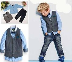 Striking boys 3-piece casual wear. A modern look for today's Casanova. Included: shirt, vest, jeans. Currently Available Made-to-Order ONLY, none in stock for immediate shipment. Please Note: While mo