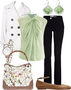 """""""green blouse"""" by kswirsding on Polyvore"""