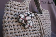 crochet t-shirt yarn bag - Le borse di Lulù: Borsa Camilla in fettuccia color tortora chiaro