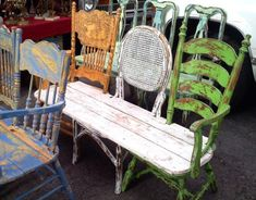 Distressed bench seating from mismatched old chairs. Love this idea!
