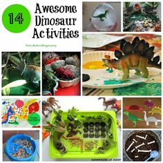 14 Awesome Dinosaur Activities for kids. Including small worlds, sensory play, arts and crafts, learning activities, paper plate projects, story telling, sponge painting, ice play and fuzzy felt.