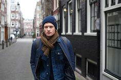 Basic beanie with Jacquard scarf BICKLEY + MITCHELL FW17/18 MENS COLLECTION / #knitwear #wool #menswear #mensstyle #collar #scarf #snood #fall #winter #ootd #fashion #cold #coat #streetstyle #knit #beanie #black #style #amsterdam #rocks #9straatjes #bickleyandmitchell