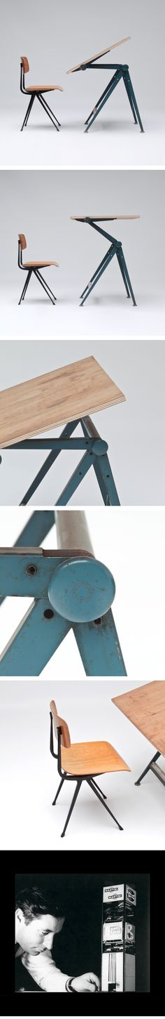 Drafting table and chair by Wim Rietveld and Friso Kramer for Ahrend de Cirkel in 1963