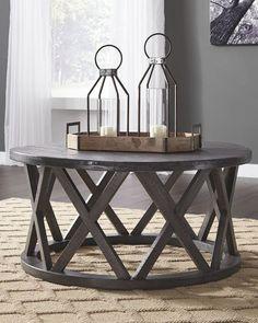 cecb1038a233 $249 Sharzane Grayish Brown Round Cocktail Table Rustic Coffee Tables, Round  Coffee Table, Ashley