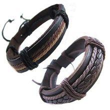 No Min Order , Wrap leather Bracelets & Bangles 2014 New HOT Fashion Bracelet for men & boy Retro high quality Fashion jewelry(China (Mainland))