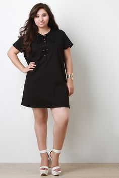 Cocktail Lace Up T-Shirt Shift Dress