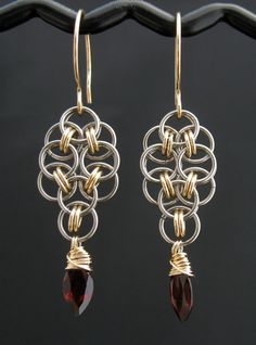 Red Garnet Chainmaille Earrings, 14k Goldfill, Stainless Steel, via Etsy.