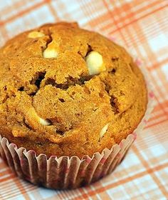 Pumpkin White Chocolate Chip Muffins   Concoctions by Peabody. Made Sept. 13, 2012. Substituted semi-sweet chocolate chips for the white; omitted walnuts (will try next time); and used vanilla extract for the vanilla bean paste. Tender, moist and delicious - will definitely make these again.