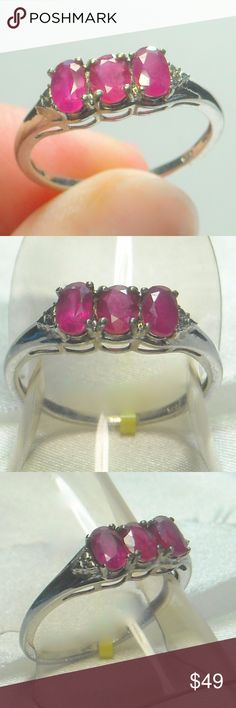 NWT Natural Ruby Ring Natural Ruby Ring, Platinum Plated .925 Sterling Silver Size 7 Jewelry Rings
