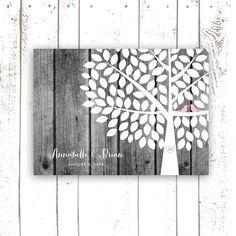 Wedding Guest Book, Wood Guest Book Alternative, Rustic Grey Wood Guest Book Poster, Signature Tree