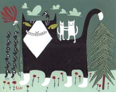 Tuxedo Cat Art Print with Crows and White Cats in grey Greens folk art. $18.00, via Etsy.