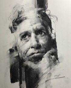 Original Portrait Drawing by Shima Rabiee Abstract Art on Paper Untitled # Self Portrait Drawing, Portrait Sketches, Pencil Portrait, Portrait Paintings, Portrait Art, Art Paintings, Charcoal Portraits, Charcoal Drawings, Drawing Course
