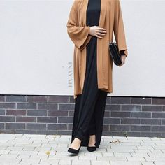 INAYAH | Camel #Kimono + Black Long #Tshirt With Slits  www.inayahcollection.com