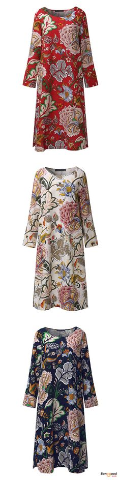 US$22.29 + Free shipping. Size: M~5XL. Fall in love with elegant and casual style! Loose Women Floral Printed Three Quarter Sleeve Linen Retro Dress.
