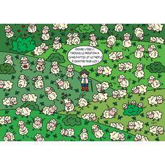 """Lali carte postale jeu """"Ouvre l'oeil! Trouve le mouton à 5 pattes..."""""""