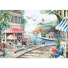 Cafe by the Sea Counted Cross Stitch Kit | Overstock™ Shopping - Big Discounts on Dimensions Cross Stitch Kits