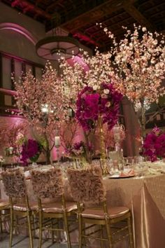 cherry blossom and hot pink orchids