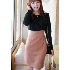 $10.32 Ladylike Scoop Neck Chiffon Splicing Front Color Block Long Sleeves Dress For Women