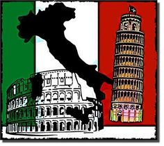 Italy Flag Coliseum Pisa Sign on Stretched Canvas, Wall Art Decor Ready to Hang!.