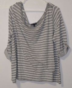 Women's  Gap Top Blouse Sweater  Boat Neck Striped 3/4 Sleeve Casual Gray  #GAP #Blouse #Casual