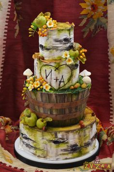 Rustic Birch Tree Wedding Cake by Nasa Mala Zavrzlama - http://cakesdecor.com/cakes/258750-rustic-birch-tree-wedding-cake
