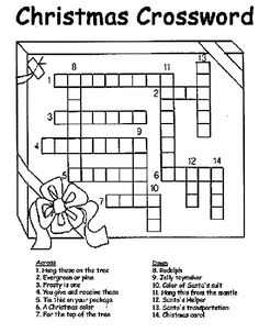 Christmas Crossword coloring page