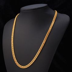 """… Gold Chain For Men Jewelry With """"18K"""" Stamp 18K Real Gold Plated 22″ …"""