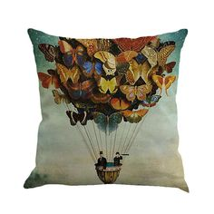 cb98785ec307 Lovely Butterfly Mariposa Painting Linen Cushion Cover Throw Pillow Ca –  Miggle Miggle  pillow