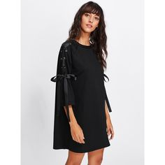 SheIn(sheinside) Ribbon Lace Up Raglan Sleeve Marled Tee Dress (125 SEK) ❤ liked on Polyvore featuring dresses, black, shift dress, long-sleeve shift dresses, t shirt dress, tee shirt dress and laced up dress