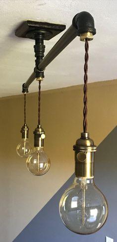 Industrial Pendant Lighting: 1/2 by TrishAndTomVintageCo on Etsy